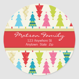 FESTIVE ADDRESS LABELS :: :: patternedxmastree 2 Round Stickers