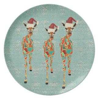 Festive Amber & Azure Giraffes Plate
