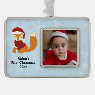 Festive Baby Fox First Christmas Holiday Silver Plated Framed Ornament