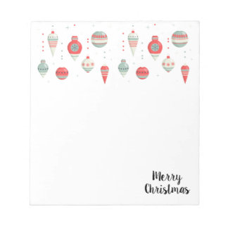 Festive Baubles Merry Christmas Holiday Notepad