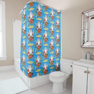 Festive Beach Santa Christma shower curtain