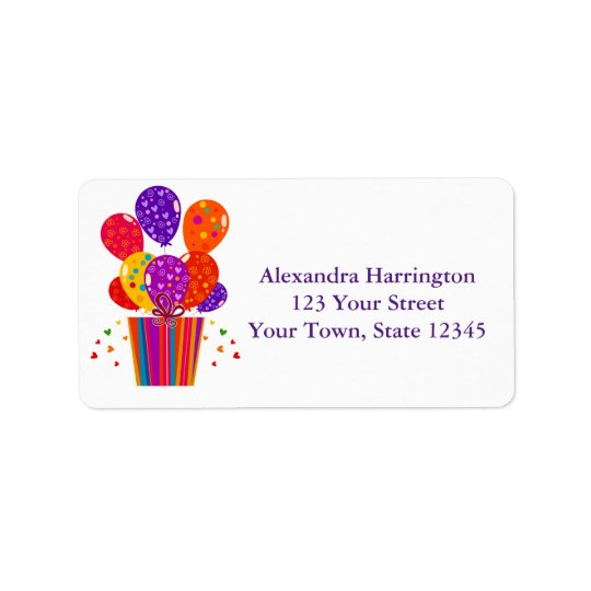 Festive Birthday Balloons, Gift Address Label