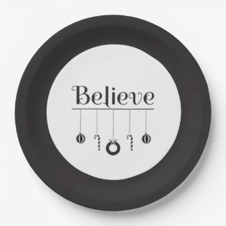 Festive Black and White Believe Christmas Paper Plate