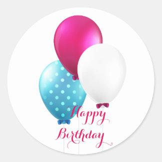 Festive Blue Pink & White Balloons Happy Birthday Round Sticker