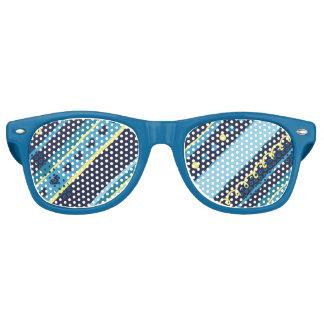 Festive Blue & Yellow Stripes Retro Sunglasses