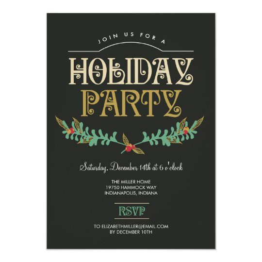 Festive Branches Holiday Party Invitation