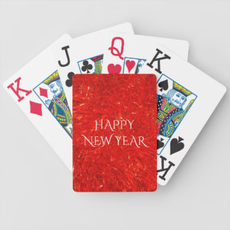 Festive Bright Red Color Happy New Year Text Bicycle Playing Cards