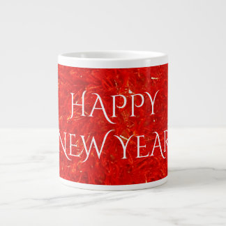Festive Bright Red Color Happy New Year Text Large Coffee Mug