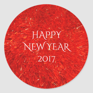 Festive Bright Red Color Happy New Year Text Round Sticker