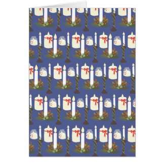 Festive Candle Print Blue Card