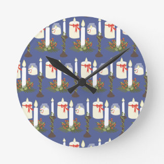 Festive Candle Print Blue Round Clock