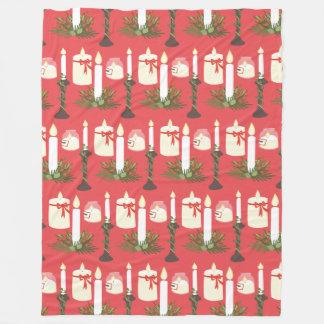 Festive Candles Print Red Fleece Blanket