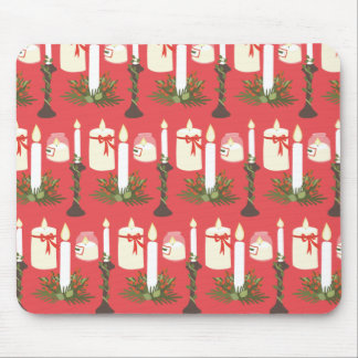 Festive Candles Print Red Mouse Pad