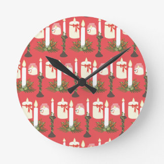 Festive Candles Print Red Round Clock
