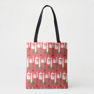 Festive Candles Print Red Tote Bag