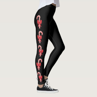 Festive Candy Canes On Black Leggings