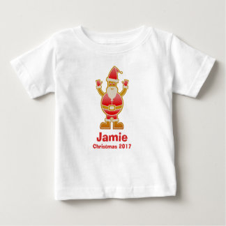Festive Cartoon Santa Gingerbread Cookie Customize Baby T-Shirt