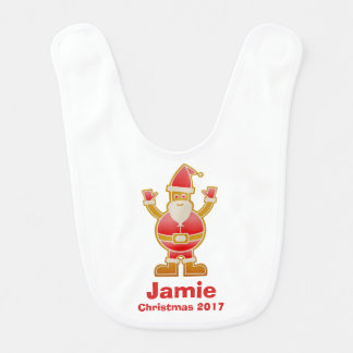 Festive Cartoon Santa Gingerbread Cookie Customize Bib