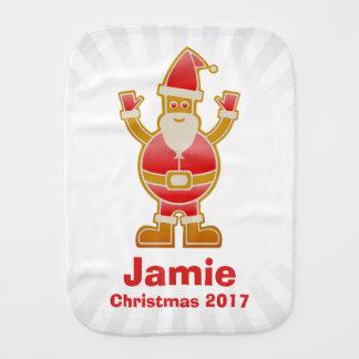 Festive Cartoon Santa Gingerbread Cookie Customize Burp Cloth