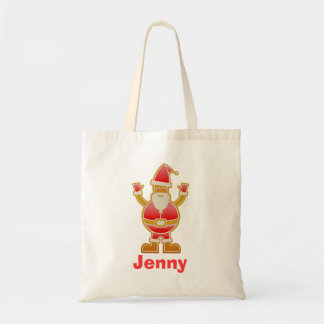 Festive Cartoon Santa Gingerbread Cookie Customize Tote Bag