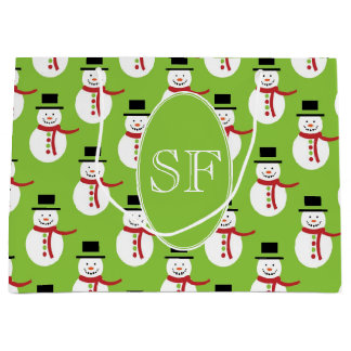 Festive Cartoon Snowman Monogram Large Gift Bag