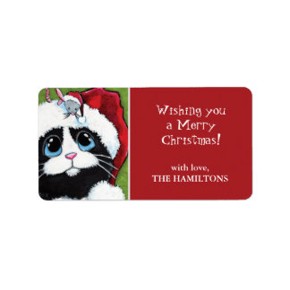 Festive Cat & Mouse Christmas Gift Tag Labels