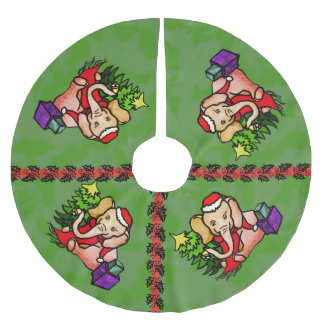 Festive Charming Christmas Santa Elephant Brushed Polyester Tree Skirt