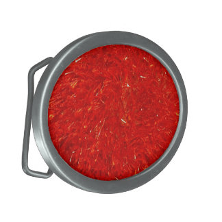 Festive Chic Bright Red Color Pattern Belt Buckles