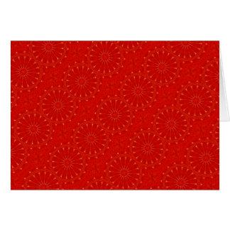 Festive Chic Bright Red Kaleidoscope Design Card