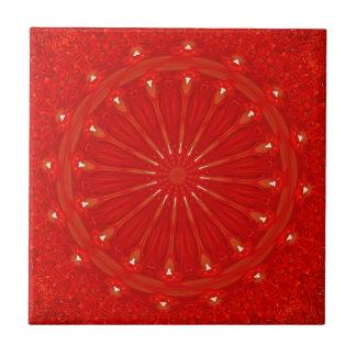 Festive Chic Bright Red Kaleidoscope Design Ceramic Tile