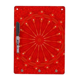 Festive Chic Bright Red Kaleidoscope Design Dry Erase Whiteboard