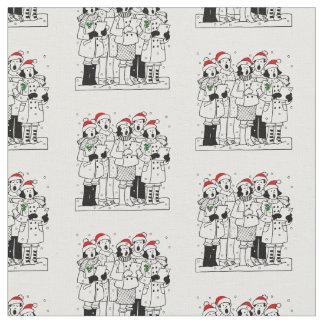 Festive Christmas Carolers with Snow Xmas Fabric