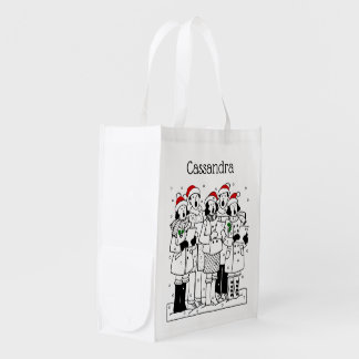 Festive Christmas Carolers with Snow Xmas Reusable Grocery Bag
