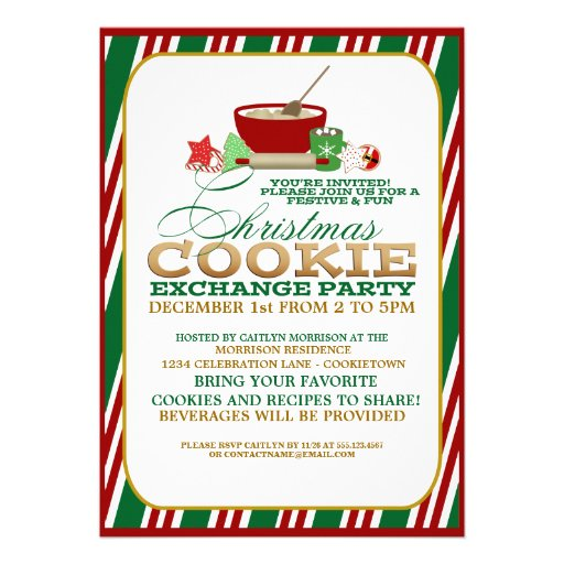 Festive Christmas Cookie Exchange Party Personalized Invitations
