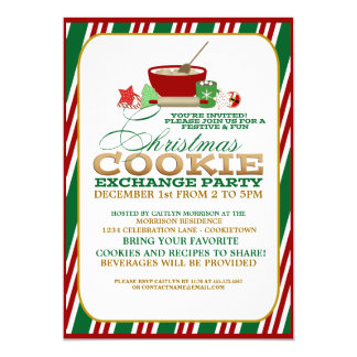 Festive Christmas Cookie Exchange Party Invitation