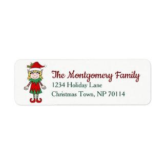 Festive Christmas Elf Girl Family Name Return Address Label
