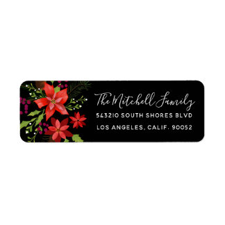 Festive Christmas Floral Poinsettias and Holly Return Address Label