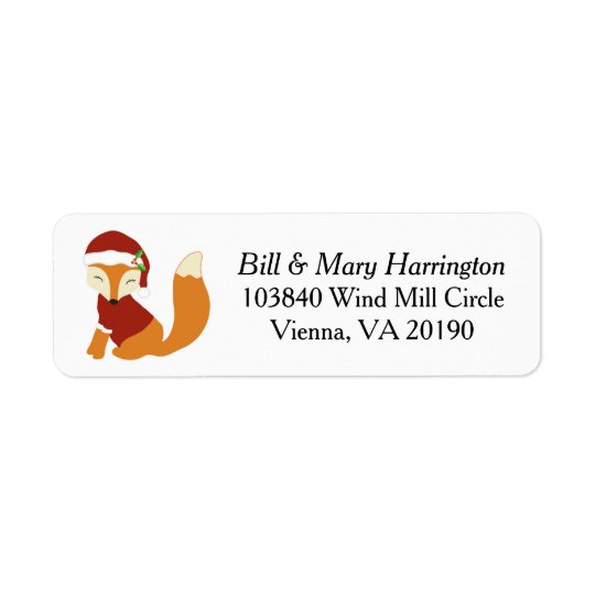 Festive Christmas Holiday Fox Return Address Label