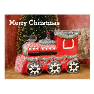 Festive Christmas Holiday Train Postcard