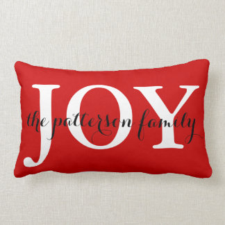 Festive Christmas Joy Red White Personalized Lumbar Cushion