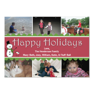 Festive Christmas Multi Photo Greeting Card 13 Cm X 18 Cm Invitation Card