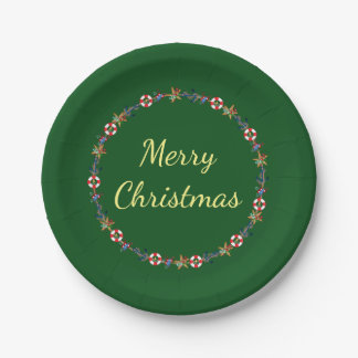 Festive Christmas Nautical Wreath Merry Christmas Paper Plate