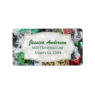 Festive Christmas Ornament Address Stickers