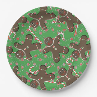 Festive Christmas Pattern Candy Canes Peppermints 9 Inch Paper Plate