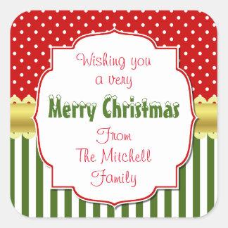 Festive Christmas Personalized Square Sticker