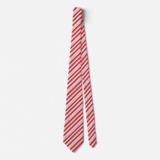 Festive Christmas Red and White Striped Candy Cane Tie