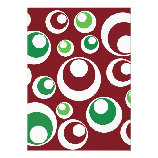 Festive Christmas Red Green Circles Dots Pattern Personalized Invitations