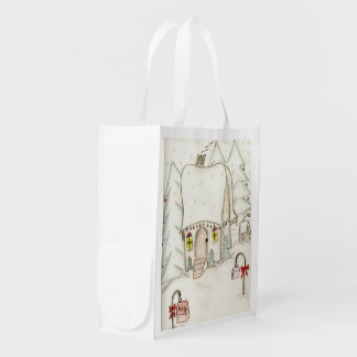 Festive Christmas scene Reusable Grocery Bag