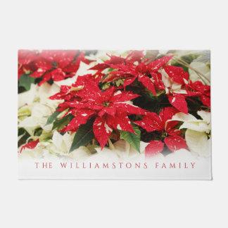 Festive Christmas Shimmer Surprise Poinsettias Doormat