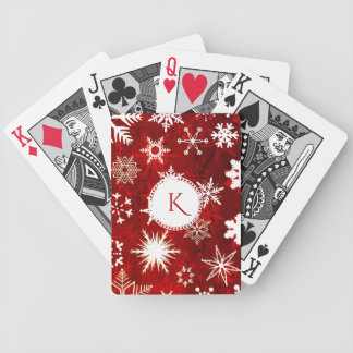 Festive Christmas snowflakes Bicycle Playing Cards